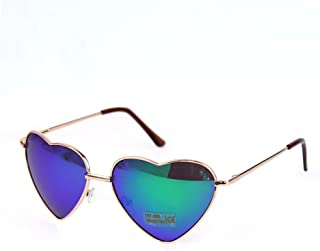 OUTEYE ファッション レトロ メタルフレーム ハート型 シェイプ グラデーション サングラス アイウェア 色眼鏡 太陽鏡 紫外線カット(グリーン)