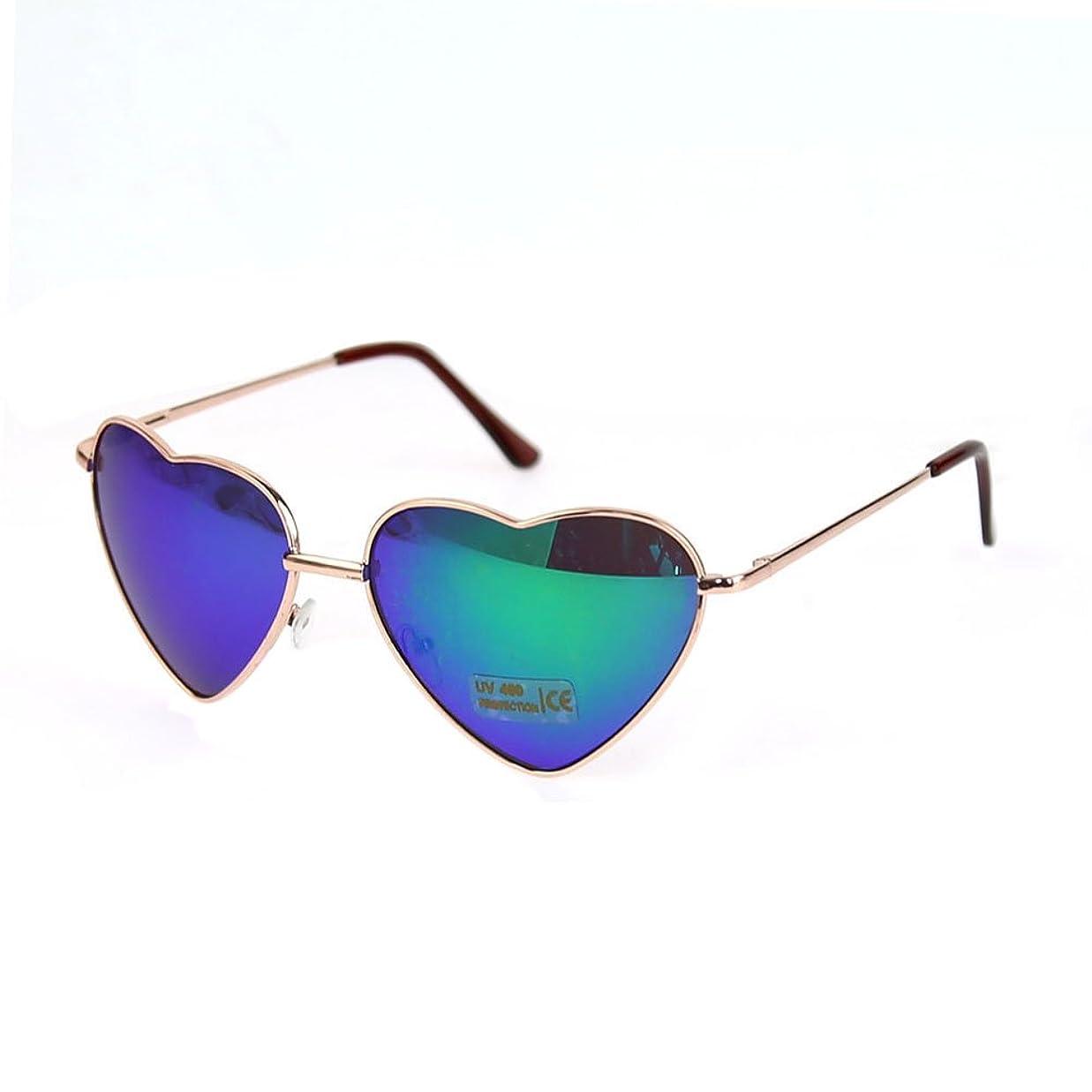 ウィンク評価可能蒸OUTEYE ファッション レトロ メタルフレーム ハート型 シェイプ グラデーション サングラス アイウェア 色眼鏡 太陽鏡 紫外線カット(グリーン)