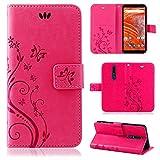 betterfon | Nokia 3.1 Plus Flower Hülle Handytasche Schutzhülle Blumen Klapptasche Handyhülle Handy Schale für Nokia 3.1 Plus Pink