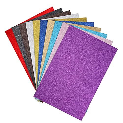 MoonSing Glitzer Papier, Glitter Basteln-Bogen 10 Blatt Farbiger Dekorpapier, Cardstock Papier Origami für Bastelkunst DIY Dekorationen Handwerk Scrapbooking, 10 Farben