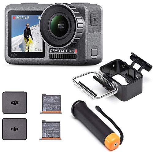 DJI Osmo Action - Cámara Digital 12MP, 4K, Pantalla Dual, Negro + Batería + Estuche Impermeable y Sumergible + Empuñadura Antideslizante