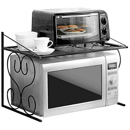 MJK Estante de almacenamiento de la cocina doméstica, estantes de cocina Estante del horno de microondas Estante del horno Soporte de especias 2 capas Multifunción de pie