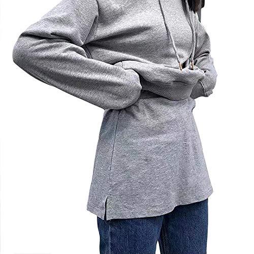 LISI Verstellbare Basic-T-Shirts, 2 Stück, falscher Saum, passende Oversize-Kapuzenpullover, Tee-Crop für vier Jahreszeiten, erzeugen einen Effekt von falschen zwei Teilen.