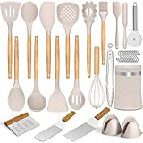 Umite Chef Silicone Cooking Utensil Set, 22 Pcs Kitchen Utensil Set with Holder, Non-stick Heat Resistant- Wooden Handles Utensils Spatulas, Khaki Kitchen Gadgets Tools Set for Cookware (BPA Free)