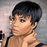 Becus Pelucas cortas de cabello humano Becus para mujeres negras afroamericanas pelucas cortas de corte Pixie Bob pelucas de cabello negro corto