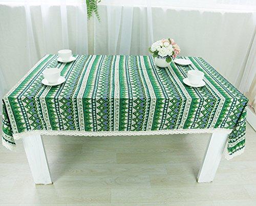 BLUELSS Tapis de table Retro Style Triangle ethniques bord dentelle nappe universelle Housse de table décoratif ,Bleu,140*140cm