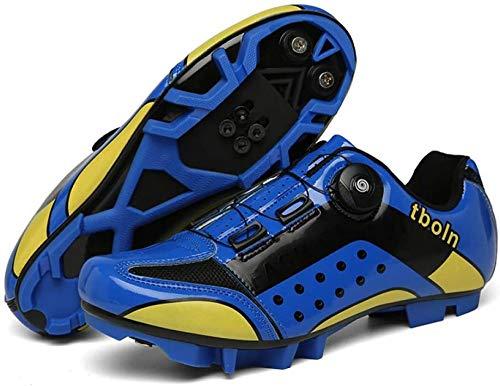 Zapatillas de Ciclismo MTB Para Hombre Zapatillas de Bicicleta de Montaña SPD Zapatillas de Bicicleta de Carretera Zapatillas de Ciclismo Al Aire Libre Transpirables con Tacos SPD,Blue-39=(245mm)