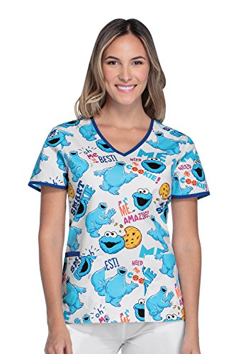 Tooniforms By Cherokee Women's V-Neck Cookie Monster Print Scrub Top Medium Print