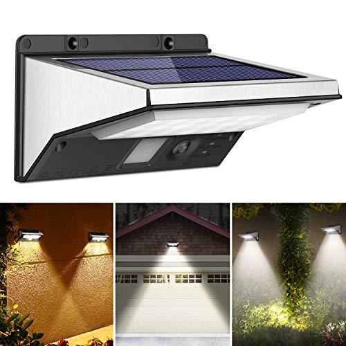 OUSFOT Luz Solar Exterior LED Foco Solar Exterior con Sensor de Movimiento...