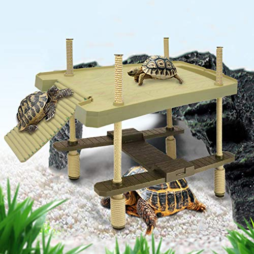 aleawol Reptilien Schwimmende Plattform Schildkröte Sonnenbad Plattform Aalen Plattform 2 Schicht Schildkröte Rampe Leiter Turtle Pier Schwimmplattform für Aquarium Dekoration Haustier Liefert