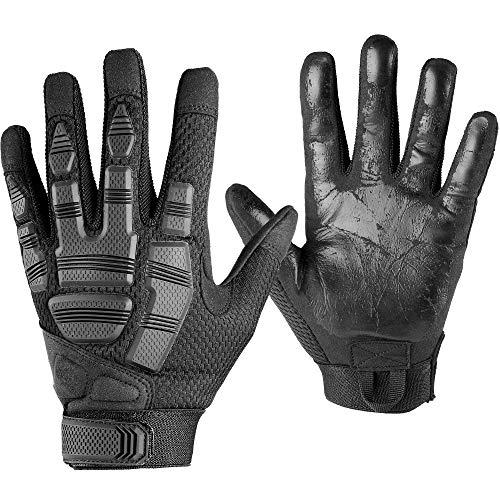 WTACTFUL - Guantes antideslizantes para hombre con palma, para motocicleta, ciclismo, escalada, camping, caza, senderismo, trabajo, color negro