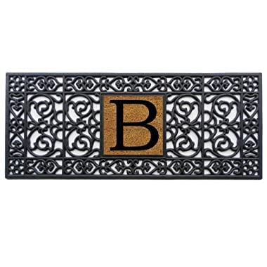 Home & More 170011741B Doormat, 17  x 41  x 0.60 , Monogrammed Letter B, Black