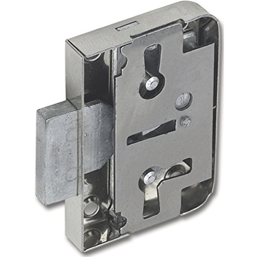 SECOTEC Möbelschloss mit Euroschlüssel | Dornmaß 25 mm | Stahl vernickelt | inkl. Schlüssel, Schließblech und Schrauben