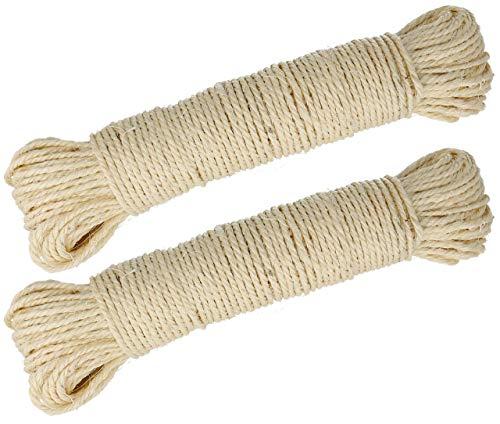 Lantelme Sisalseil 100 Meter EIN Naturprodukt Sisal für Katzen Kratzbaum Seil zur Reparatur der Säulen Katzenkratzbaum 3975