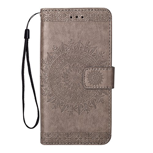 Miagon Galaxy S4 Hülle,Grau Mandala Blumen Handytasche Flip Case Cover Schutzhülle Ledertasche Lederhülle Bookstyle Klapphülle Kartenfächer für Samsung Galaxy S4