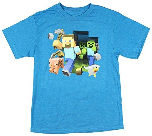 Minecraft Boy's Keep Running Steve T-Shirt (Large 10/12, Turquoise Heather)