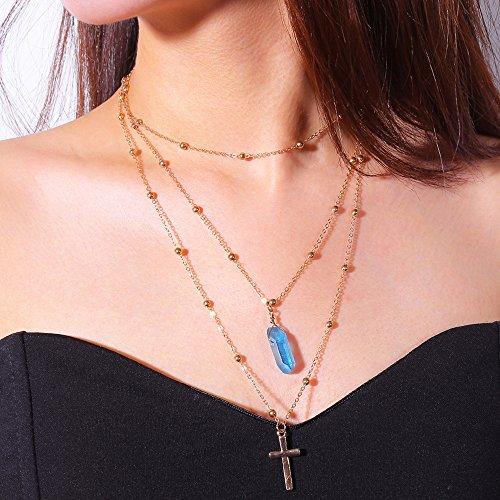 Kercisbeauty onregelmatige kristallen ketting met kruis hanger voor vrouwen en meisjes Blauw