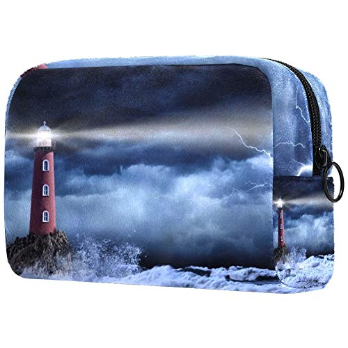 TIKISMILE Lighthouse In Stormy Large Makeup Bag Toiletry Bag Travel Cosmetic Bag Portable Makeup Pouch for Women Girls