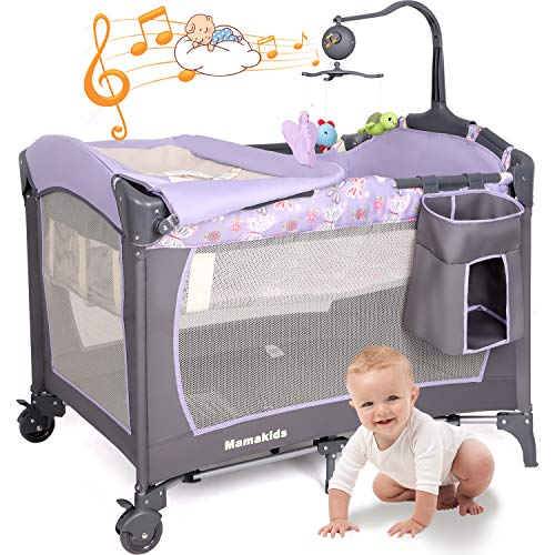 Hadwin Foldable Travel Cot, 2 in 1 Bed Playpen with Changing Table,Double Layer Bassinet with Toys&Music, Baby Crib with Mattress&Carry Bag, Max Load 20KG