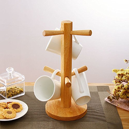 TY&WJ Bambou mug peuplement avec 6 crochets de stockage rack, Maintenez et grandes tasses ou coupes à sec-A