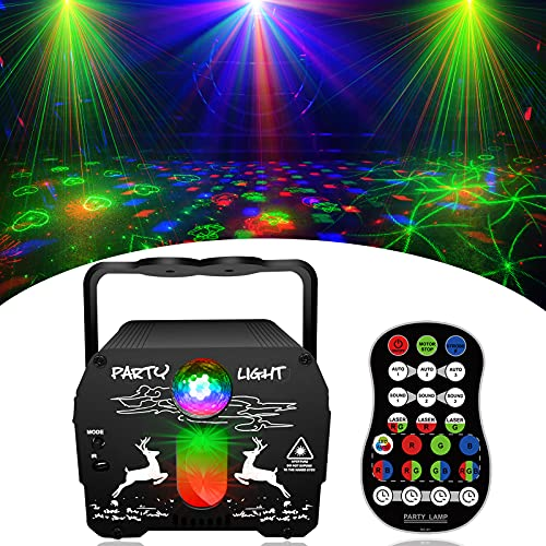 Party Lights DJ, Disco Light with Remote Control Stage Laser Lighting, Portable Battery Powered & Sound Activated Disco Ball Led Projector Strobe Lamp for Home Parties Kids Birthday Christmas Show Bar