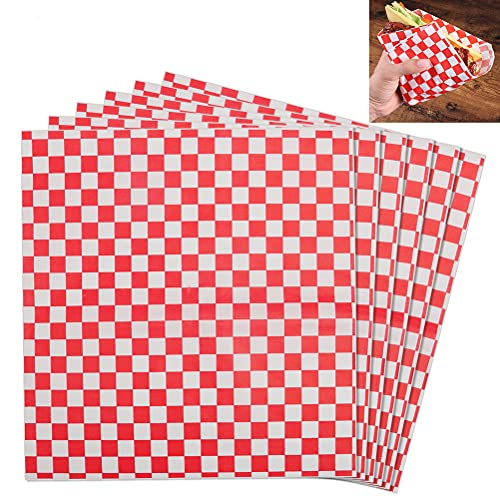 50 Sheets Food Grade Wrap Paper, 11x10' Checkered Food Basket Liners Sandwich Paper Greaseproof Papers Oil-Proof Wrapping Wax Tissue for Deli Hamburgers Cake Fries Gift