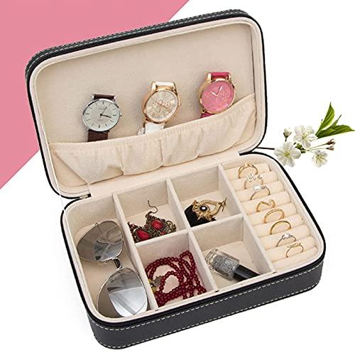 DOPN Pequeña caja organizadora para mujeres y niñas, de piel sintética, para viajes, portátil, gafas de sol, organizador de 3 ranuras