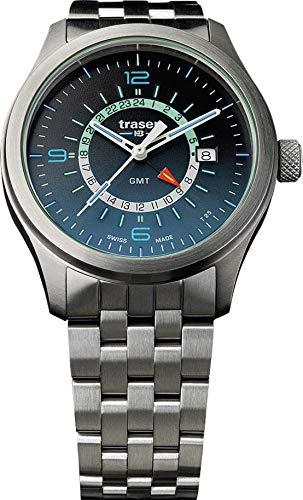 Traser H3 P59 Classic Aurora GMT Blue Tactical Watch Orologio da polso militare in acciaio inossidabile