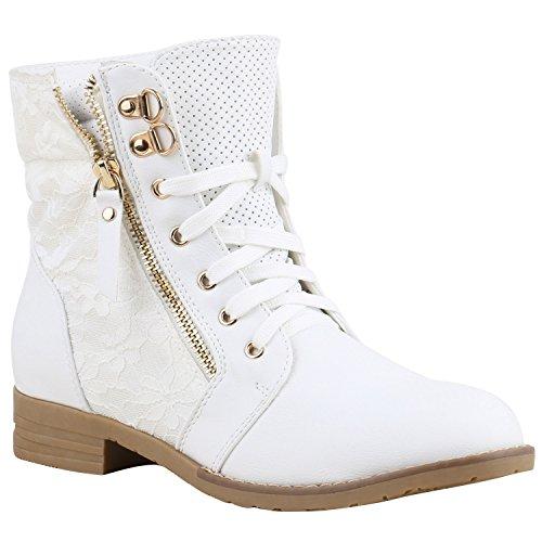 Stylische Damen Stiefeletten Worker Boots Knöchelhohe Stiefel Gesteppt Damen Leder-Optik Zipper...