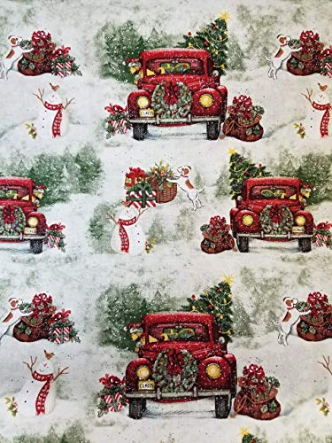 """Christmas Red Pickup Truck Tree Country 16"""" Valance"""