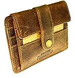 flevado Vintage Mini Geldkarten Geldbörse Wildleder Brieftasche im handlichen Format Party Leder wallet