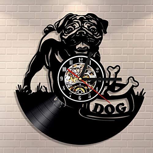 BFMBCHDJ Mops Hund Wanduhr Vintage Welpen Wandkunst Kinderzimmer Wanddekoration Vinyl Schallplattenuhr Britische Bulldogge Uhr Hunderassen Geschenk Hundeliebhaber