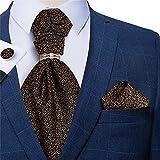 DAGONGREN Gold Floral Hommes Vintage Cravat Mariage Formal Silk Cravate pour hommes Cravat Manchette de manchette Ensemble (Color : Gold Floral, Size : One size)