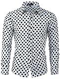 uxcell Camisa De Lunares para Hombres Mangas Largas Ajuste Delgado Blanco 52