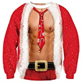 Loveternal Dad Ugly Christmas Sweater for Men Funny Hoodless Tie Chest Sweatshirt Youth Xmas 3D Printed T Shirt Long Sleeves Pullover Red L