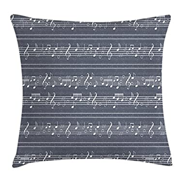 Ambesonne Grey Decor Throw Pillow Cushion Cover by, Classical Music Clay with Notes in Symbols Rhythm Jazz Song Melody Treble Clef Image, Decorative Square Accent Pillow Case, 16 X 16 Inches, White