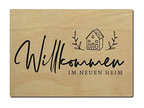 Interluxe houten postkaart Welkom in het nieuwe huis DIN A6 105 x 148 mm kaart echt hout wenskaart spreuk invoeging