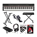 Yamaha P125 88-Key GHS Digital Piano (Black) with Knox Keyboard Bench, Double X Stand, Sustain Pedal, Headphone, Dust Cover Piano Book with CD, and DVD Bundle (8 items)