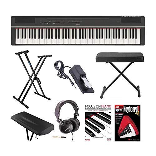 Yamaha P125 88-Key GHS digitale piano (zwart) met knop toetsenbord bank, dubbele X standaard, Sustain pedaal, koptelefoon, stofkap Piano boek met CD en dvd-bundel (8 items)