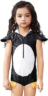 Digirlsor Kids Toddler Girls One Piece Bathing Suit Cute Penguin Hooded Zip Swimsuit Rash Guard Swimwear Short Sleeve