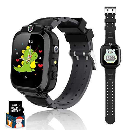 Reloj inteligente para niños con pantalla táctil, reloj inteligente para niños, música, con doble cámara, linterna, reloj digital para niños, regalo para niños y niñas, color negro