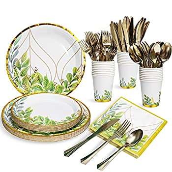 Greenery Party Plates Napkins Cups Sets with Plastic Cutley Sets Serves 24 for Baby Shower Bridal Shower Birthdays Boho Jungle Safari Party Supplies and Decorations