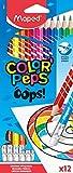 MAPED Couleur Oops Color'Peps-12 Coloriage avec Embout Gomme Triangulaire Ergonomique-Pochette de 12 Crayons Effaçables en Résine, 832812