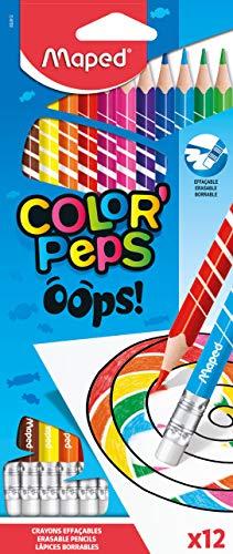 Maped - Radierbare Drei-Kant-Buntstifte, Farbstifte COLOUR'PEPS OOPS - 12x Stifte