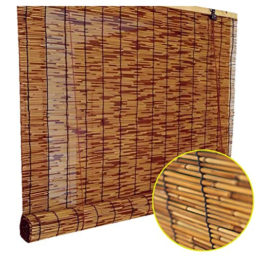Deevin Bamboo Roll Up Blinds - Reed Roman Shades - Natural Curtains, Anti-Corrosion & Dustproof, Suitable for Courtyard, Garden, Indoor, Outdoor, Customizable