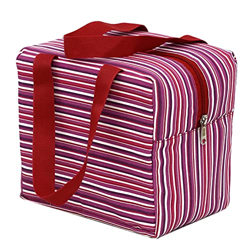 Shuban Thermal Insulated Stripe Lunch Tote Canvas Bag for Office School College Picnic Travel Snacks & Food (Pink) (Size -L-21 x W-14 x H-18 Cm)
