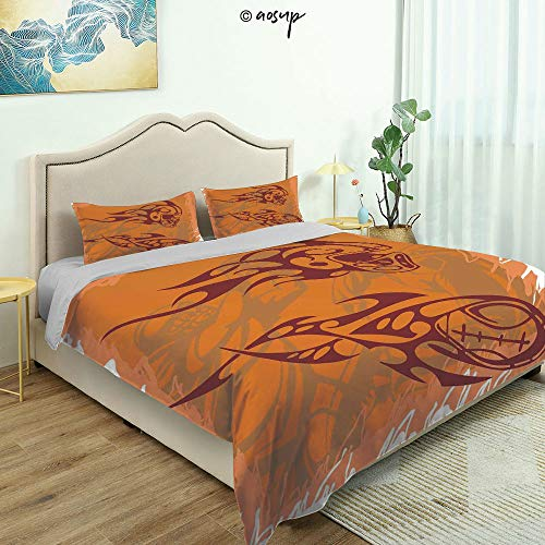 Homenon Three-Piece Suit Fun Design Bed Set, Tribal Ethnic Patterns Inspired Helmet and Ball Distressed Motion Score Fine Printed Oversize Quilt Set Queen/King Size Bed Cover (Queen)