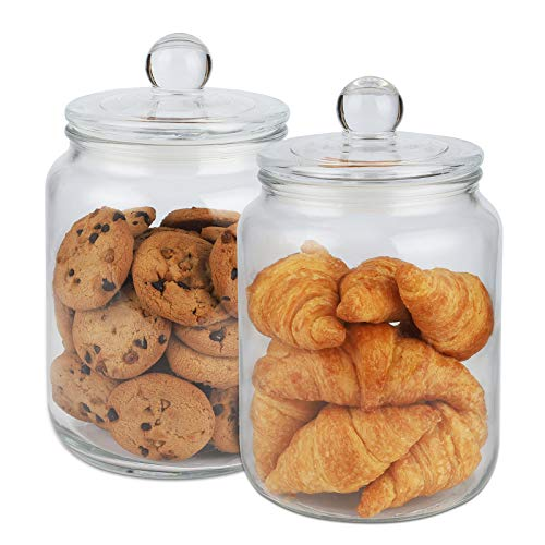 Glass Cookie Jar Set of 2 Glass Storage Jar with Lid (1/2 Gallon) Airtight Glass Storage Container for Food, Flour, Pasta, Coffee, Candy, Dog Treats, Snacks and More Glass Organization Canisters for Home & Kitchen 68 Ounces