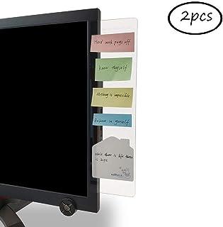 Bestmaple パソコンディスプレイ用 メッセージボード 2個 アクリル 透明ボード 携帯立てスタンド ルーラー 貼り付けボード メモスタンド 伝言板 左右側 (トランスペアレント)