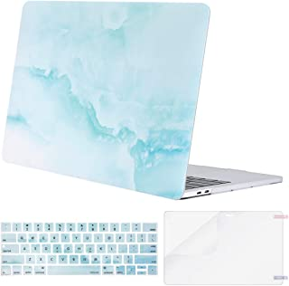 MOSISO MacBook Pro 13 inch Case 2019 2018 2017 2016 Release A2159 A1989 A1706 A1708, Plastic Pattern Hard Shell & Keyboard Cover & Screen Protector Compatible with MacBook Pro 13,Hot Blue Cloud Marble